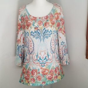 2x Made in USA REBA floral plus size long sleeve